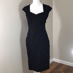 Tadashi Shoji Black Criss Cross Bandage Dress M